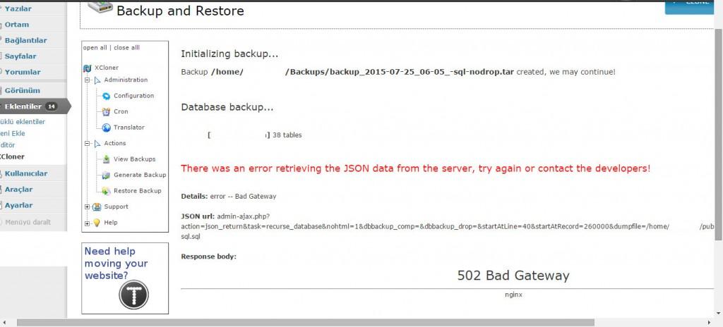 Updraftplus nginx bad gateway error (1)