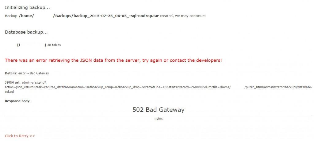 Updraftplus nginx bad gateway error (2)